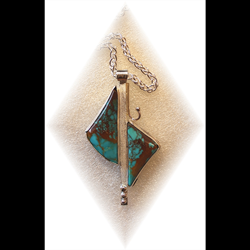 Twin Turquoise Triangles in Sterling Silver Pendant on Chain, 2018