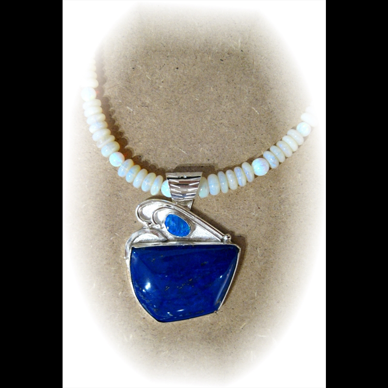 Smaller Lapis + Opal on Light Opal Beads