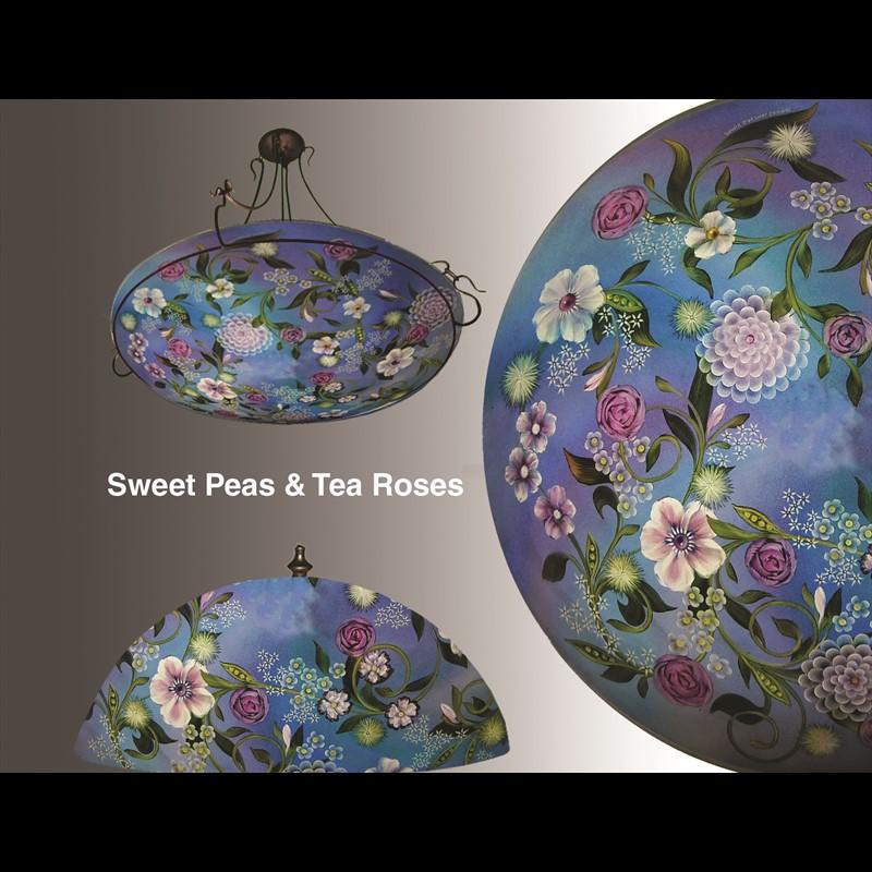 "Display Lamp-Sweet Peas and Tea Roses 13""  #2 Base - S"