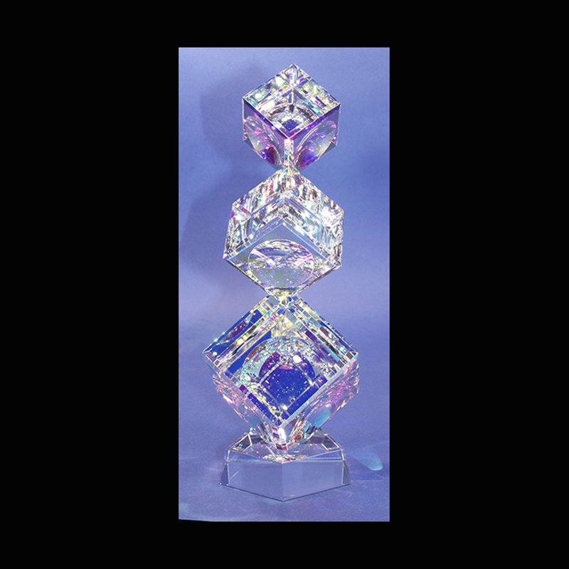 """Crystal Cubes Tumbling (3) 100/120/145mm( 4""""4 3/4""""5 3/4"""") on Base-AW"""