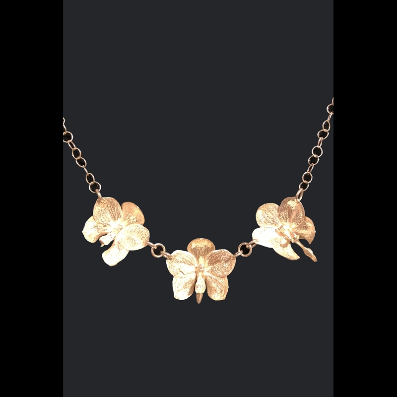 Chained Three Med Orchid Necklace