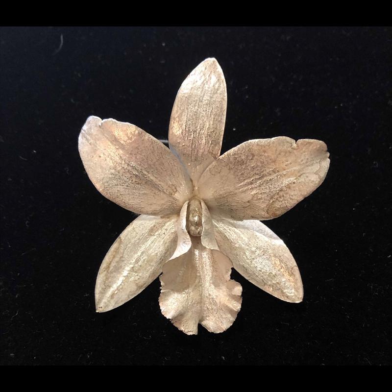 Medium Single Sterling Silver Cast Orchid Pin