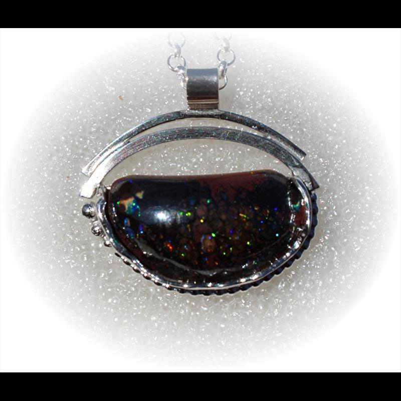 Sterling Silver w/Boulder Opal-Half Moon