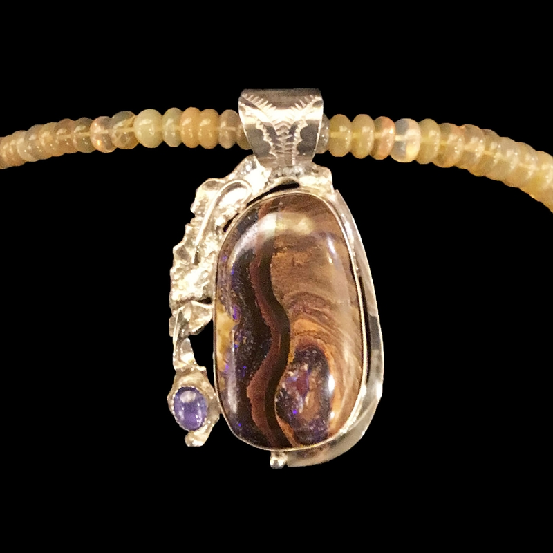 Boulder Opal +Tanzanite on agate beads