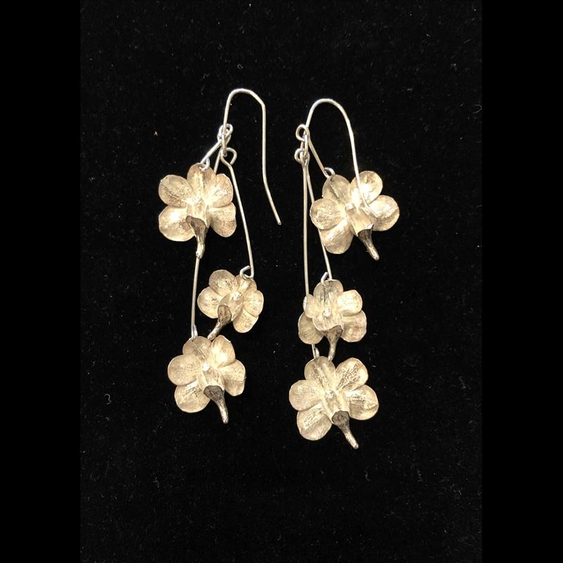 Triple Dangle Sterling Silver Cast Orchid Earrings