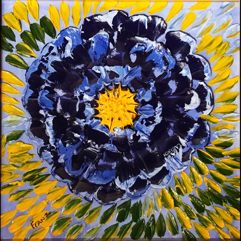 Large Blue Flower Impasto Oil Painting