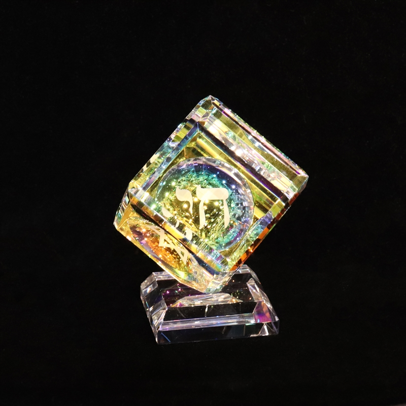 Crystal Cube 050mm with Judaica 3 sided images on Base