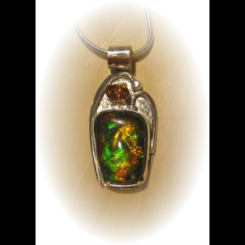 Ammolite Sterling Silver Pendant w/ Citrine