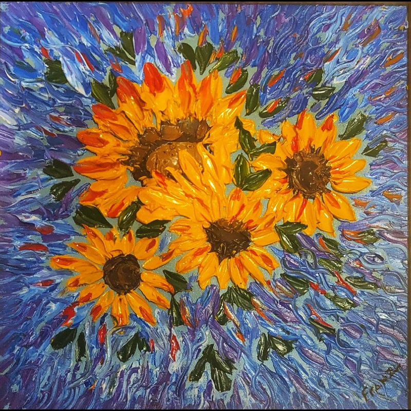 Sunflower Impasto Oil Painting, 2018