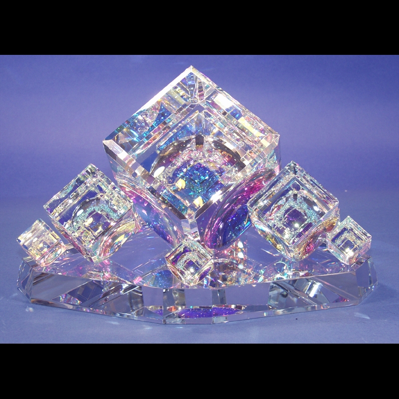 "Crystal Cube Center Piece with Five Cubes on Base 50/60/80/100/120mm(2""2 3/8""3 1/8""4""4 3/4"")-S"