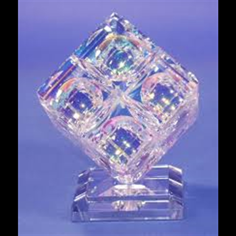 Crystal Dichroic Glass 8-40mm cubes in 1 cube on mirrored base, 2017
