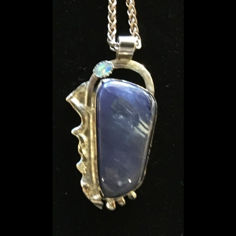 Lightening Ridge dark blue opal+opal & fused silver