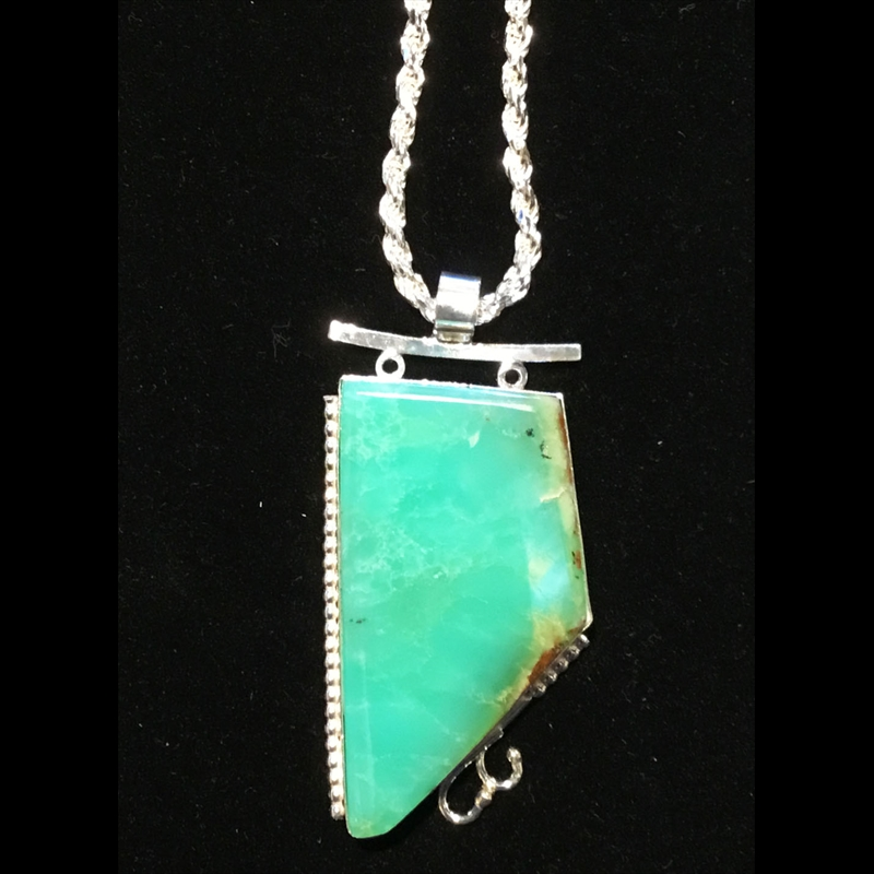 Chrysoprase and Sterling Silver Necklace