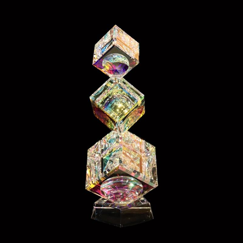 Crystal Cubes Tumbling (3) 50/60/80mm on Base