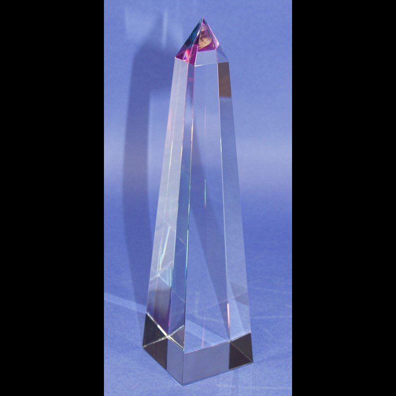 """Crystal Conical Obelisk Sculpture 08""""-PO"""