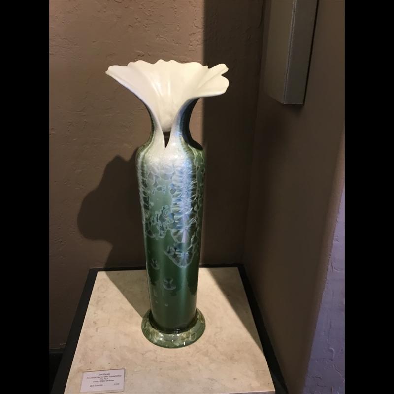 Green on White Shell Vase