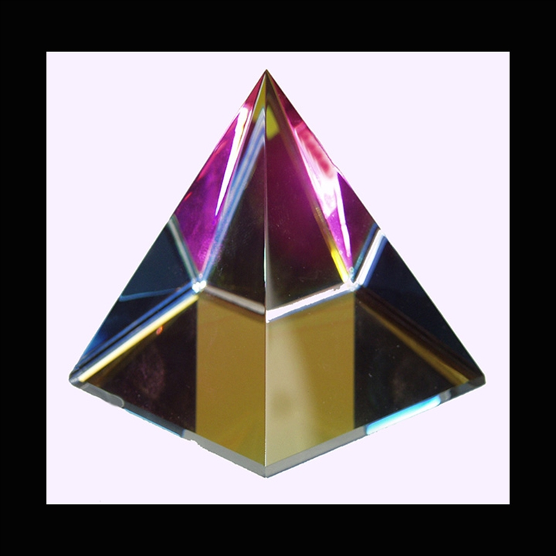 Crystal Pyramid 75 mm w/colored Optical Glass - S
