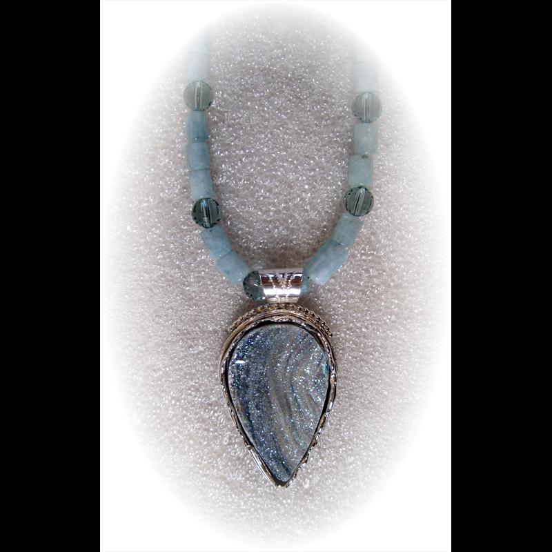 Druzy on Aquamarine beads