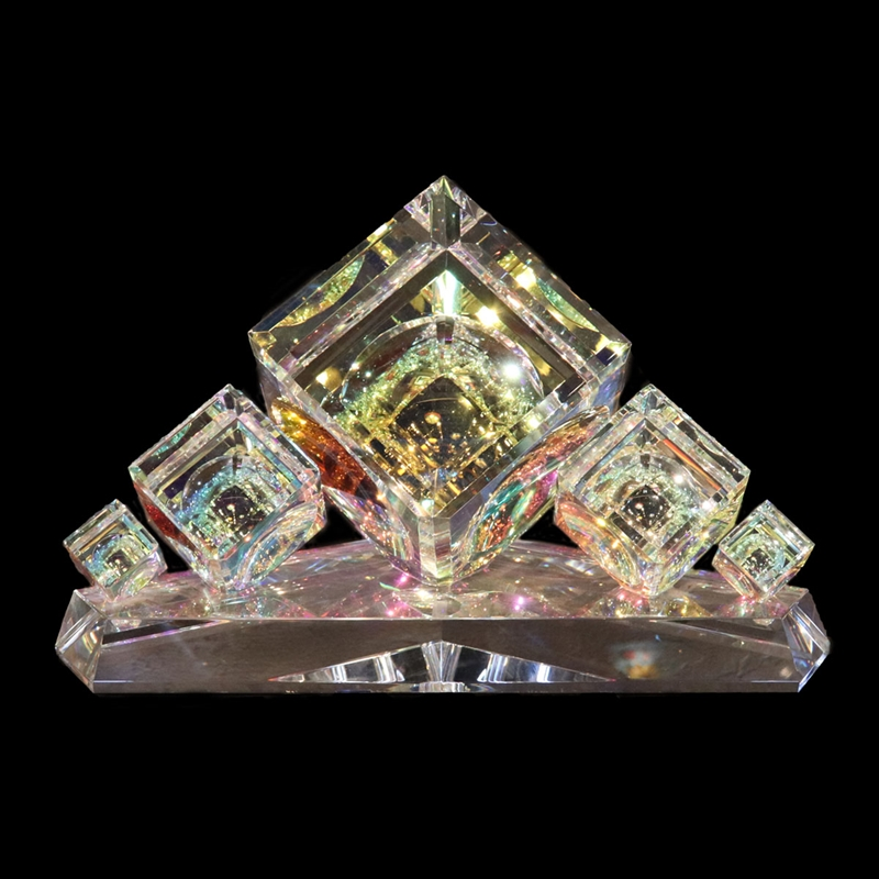 """Crystal Cube Center Piece with Five  Stacked Cubes  30/60/120mm(1 1/8""""2 3/8""""4 3/4"""")"""