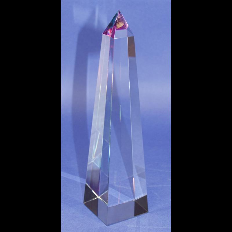 """Crystal Conical Obelisk Sculpture 14""""-PO"""