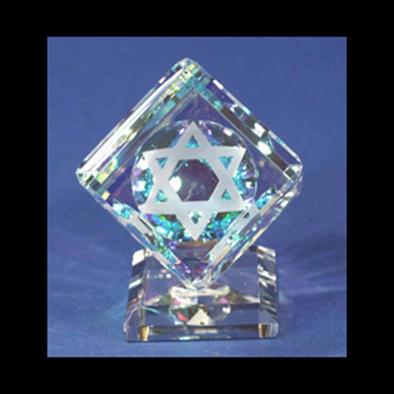 Crystal Cube 060mm with Star of David on Base-PO