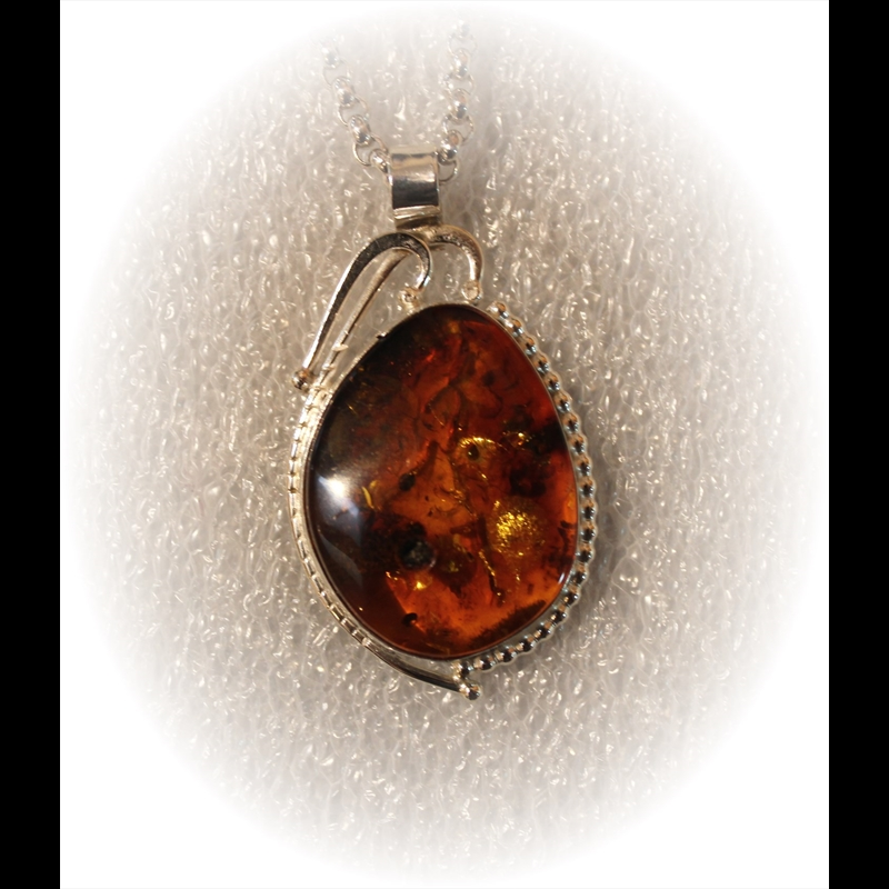 Amber Pendant on Sterling Silver Chain