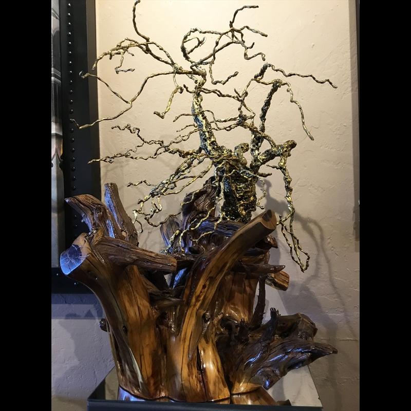 Bronze & Steel Tree on Mesquite Root Ball, 2019