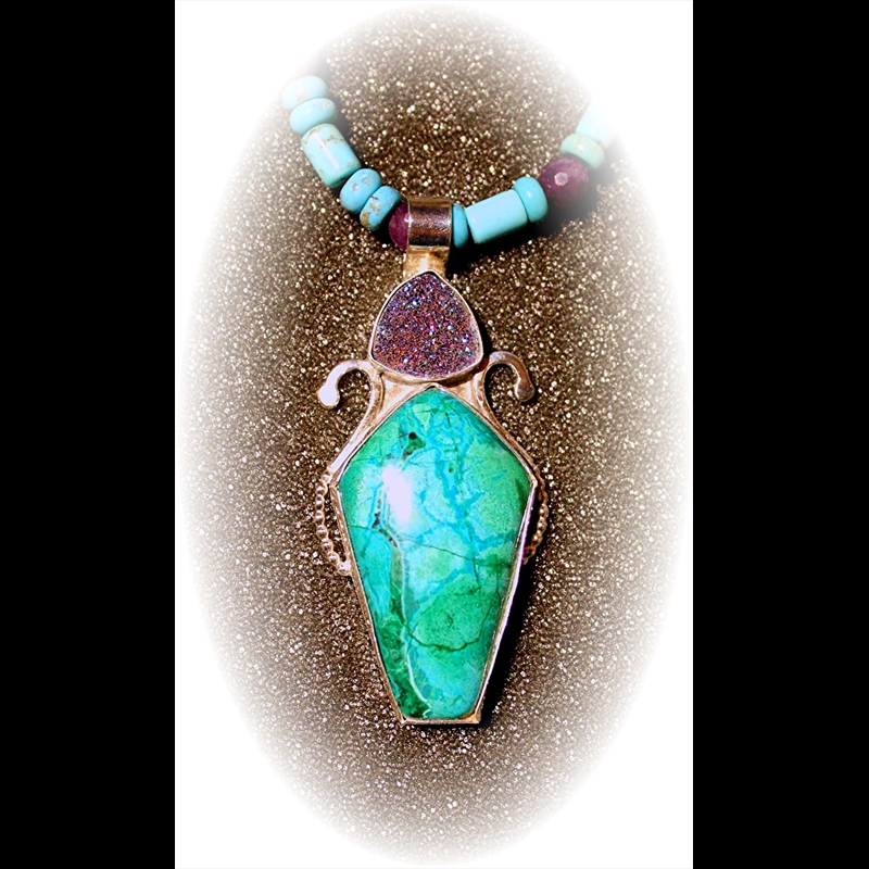 Turquoise+Druzy on turquoise+amethyst