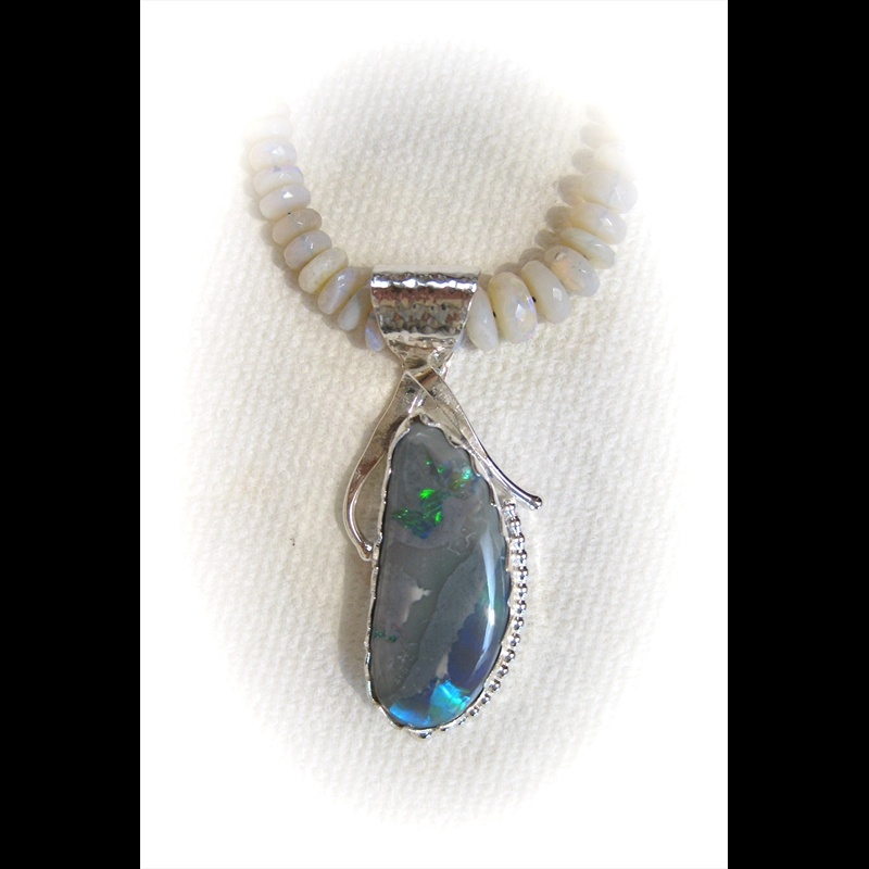 Lightning Ridge Opal in Sterling Silver on Opal Beads, 2017