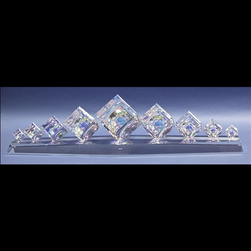 Crystal Cube Center Piece with Five Cubes on Base 30/50/60/80/100mm