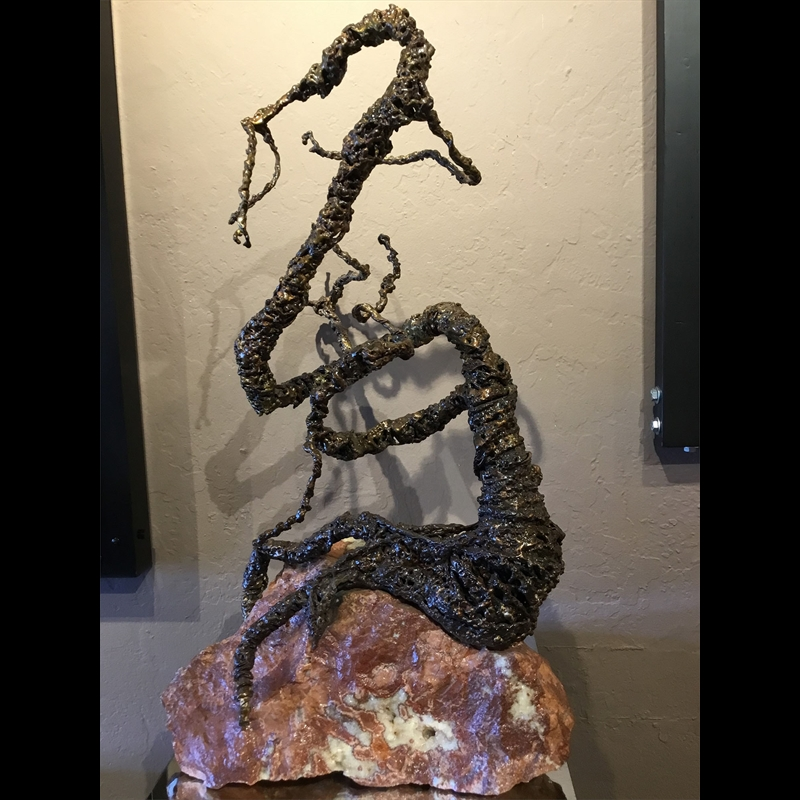 Tri-Metal Dragon on Pink Granite, 2019