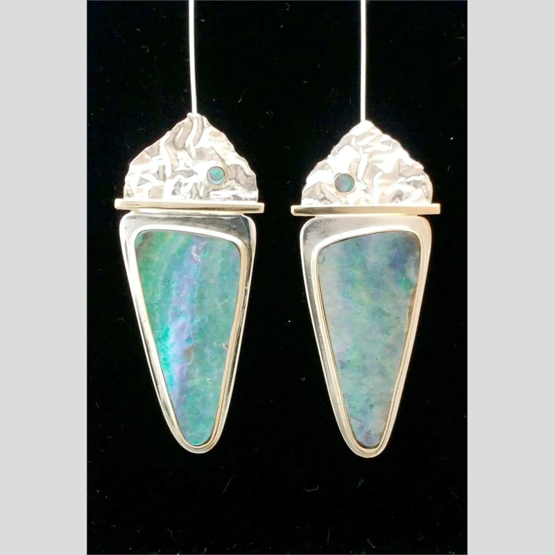 Mountain Lake Reflections ~ Earrings 14k gold, sterling silver, abalone. Reticulated and fabricated at 47.5 x 21.5.