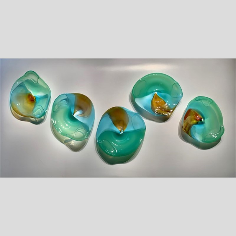 Jade & Amber Glass Wall Pieces