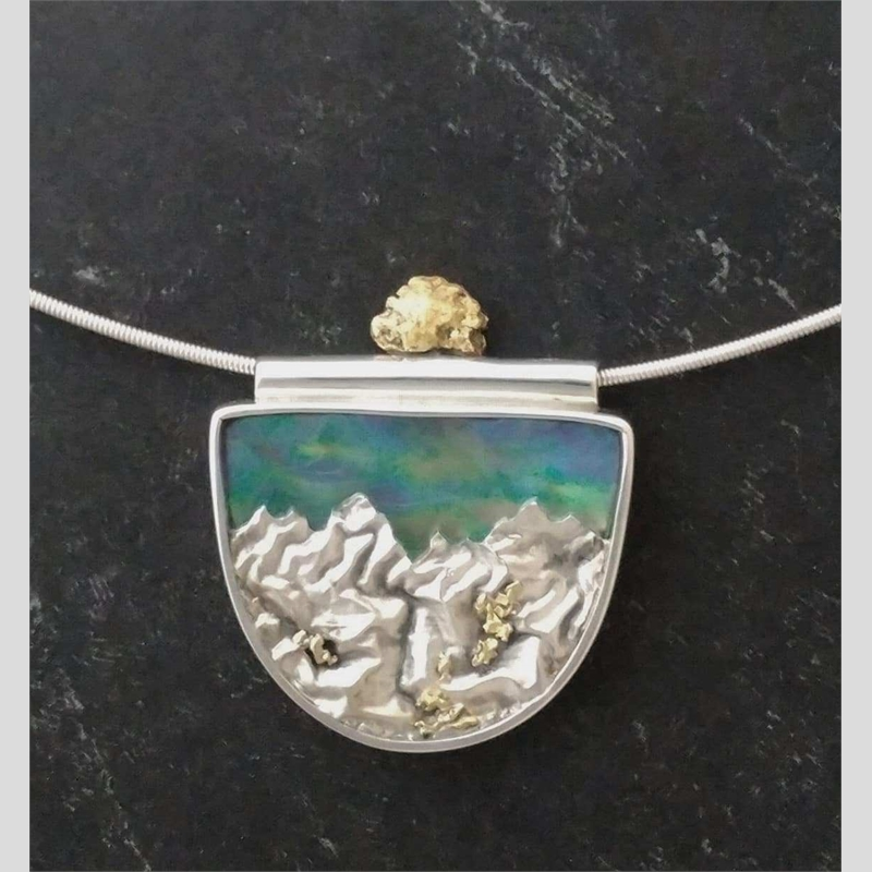 Thar's Gold ~ Sterling silver, 23k gold nuggets (.9 total gm) abalone. Reticulated and fabricated at 25.5 x 35.5 mm