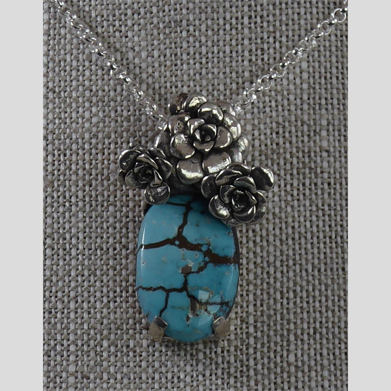"""Arizona Floral"" Pendant ~ One of a kind turquoise and sterling silver cast succulent."