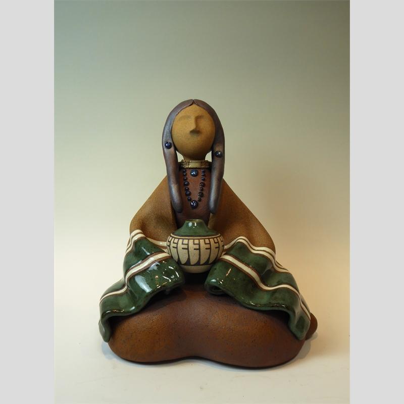 Lakota Woman Seated Green