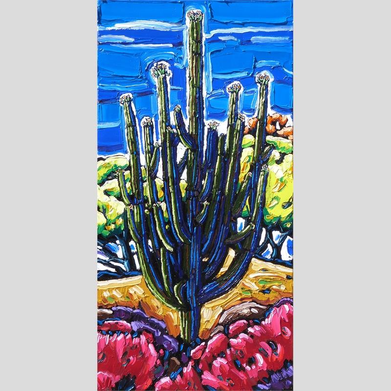Shimmering Spring Light, Giant Saguaro in Bloom
