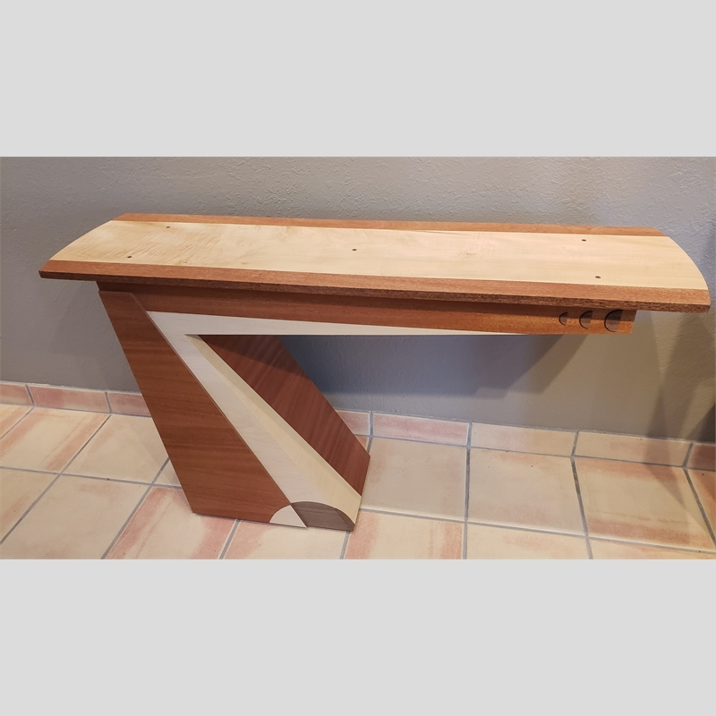 Curly Maple Floating Table ~ African Mahogany, Walnut, Curly Maple Solid Top & Veneers