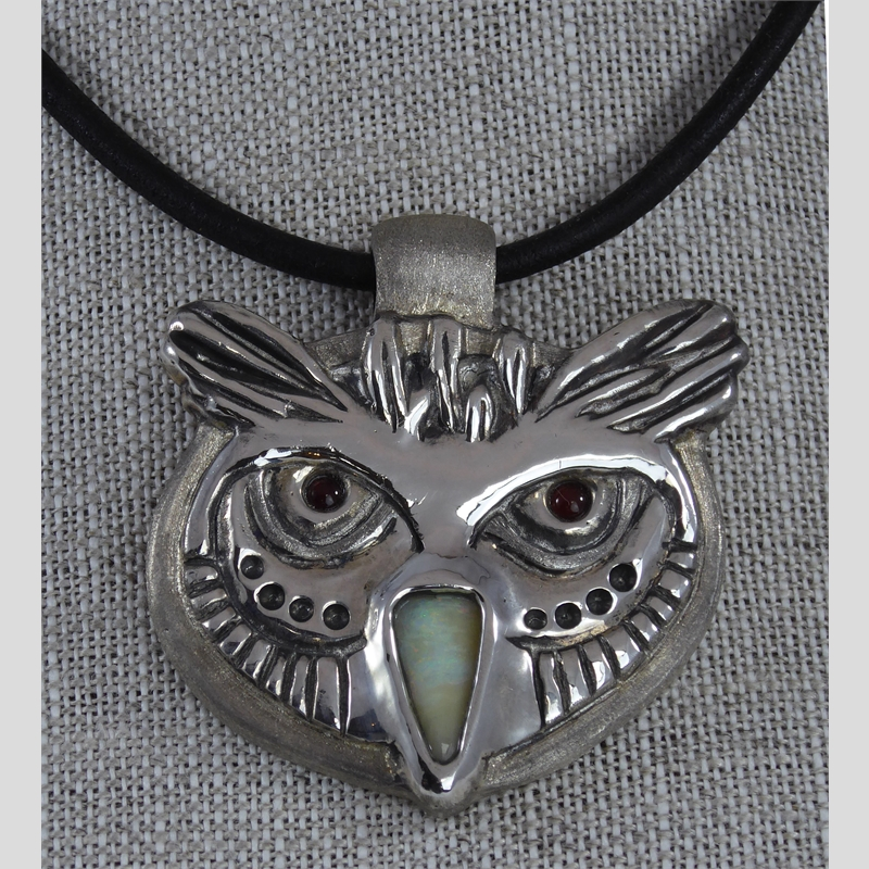 """Who Me"" - Owl Pendant ~ Boulder Opal, Carnelian and Sterling Silver"
