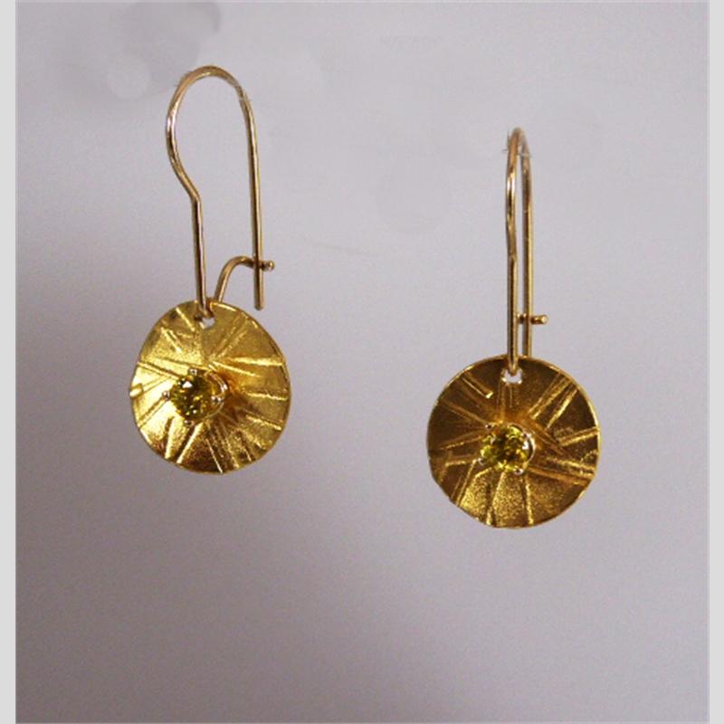 Nova Earrings Reversible ~ 22k Gold, Sterling Sphene in 14k Gold