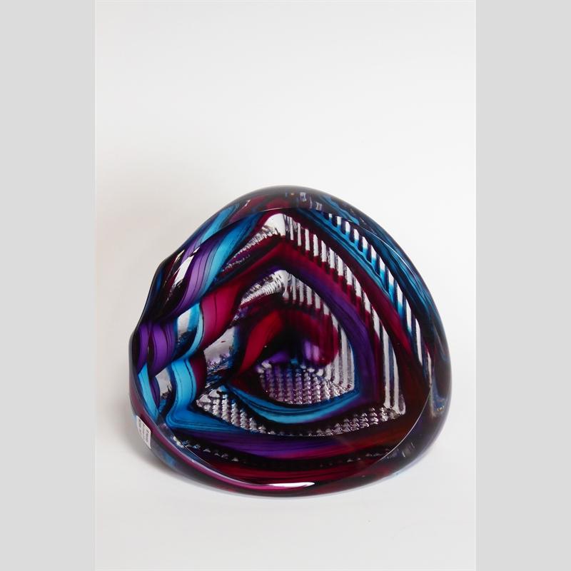 Small Corner Cube ~ Turquoise, Ruby & Purple