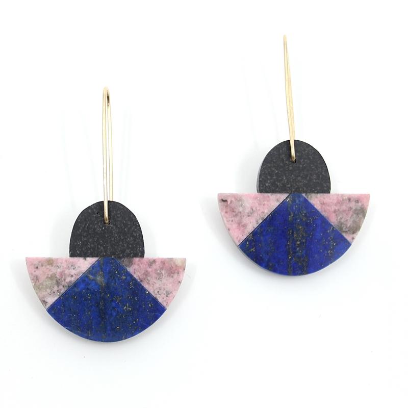 Basalt, Lapis, & Rhodonite Earrings