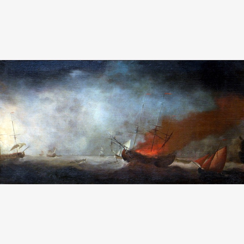 Follower of Francis Holman - Seascape with Burning Ship