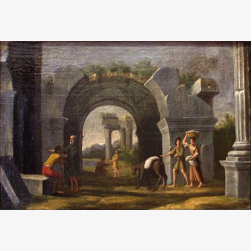 Follower of Giovanni Paolo Panini - A Meeting at the Ruins