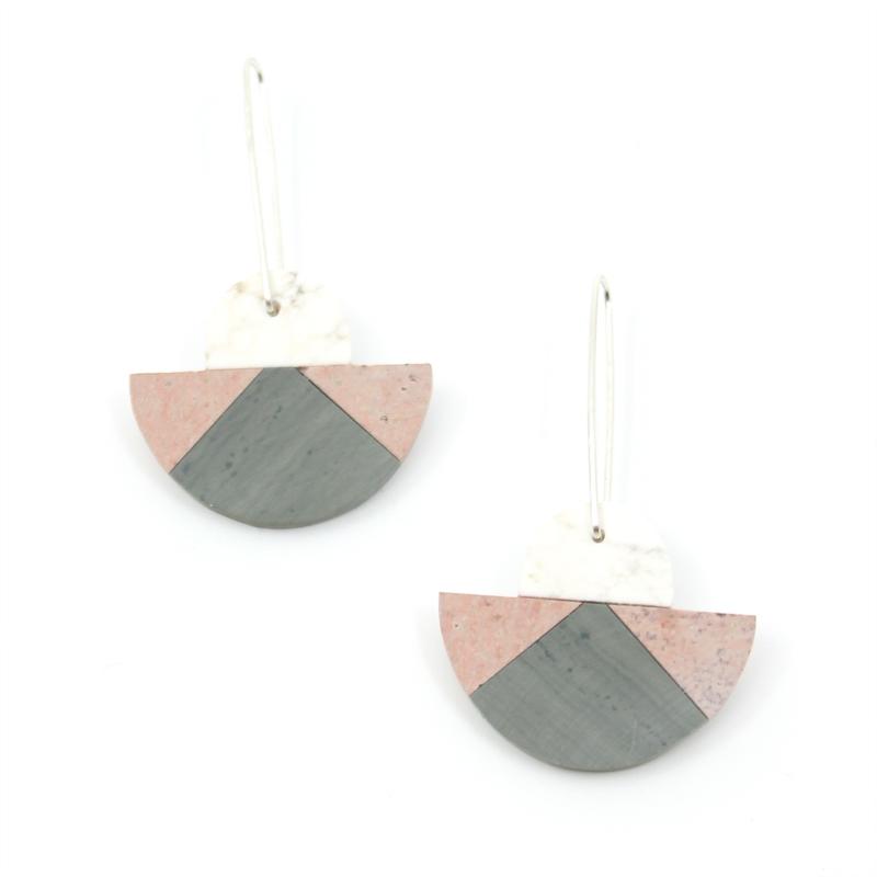 Triple Stone Earrings, 2019