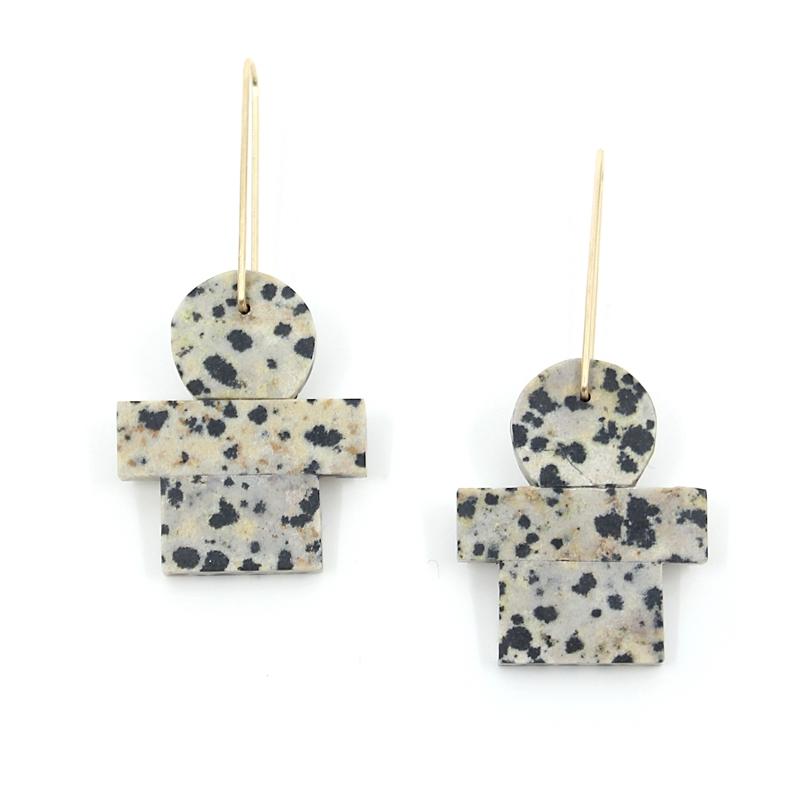 Dalmation Stone Earrings
