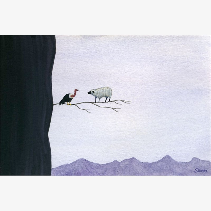 Vulture, Sheep, Branch, 2019