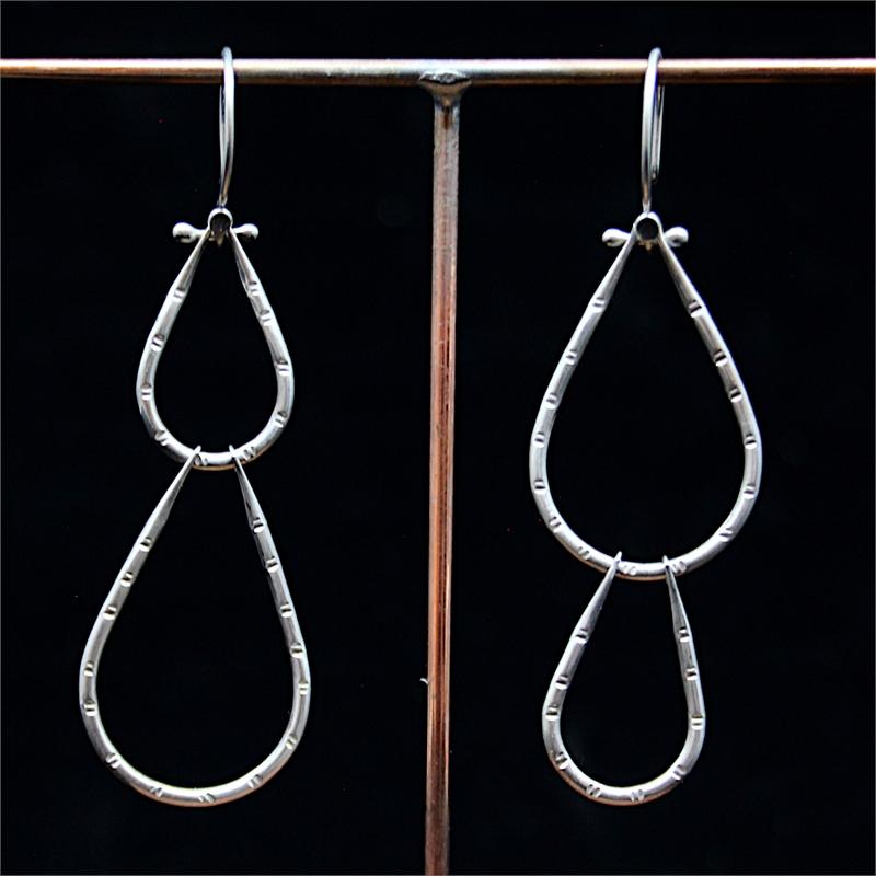 Asymmetrical Silver Nopal Earrings