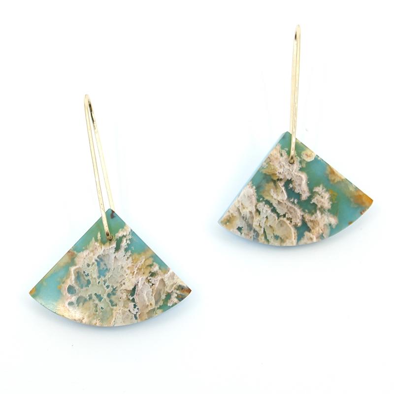 Plume Agate & Dyed Howlite Earrings