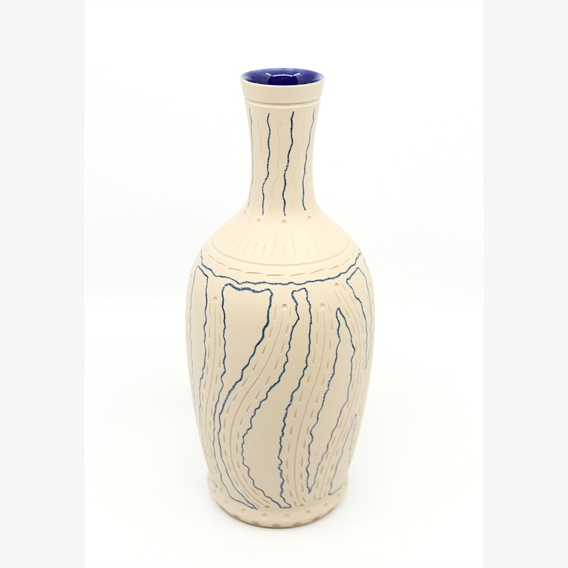 Tall White/Blue Vase